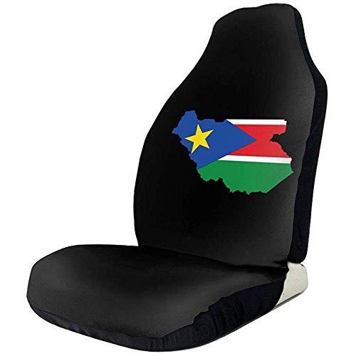 MJDIY Drivers Seat Cover, Sudan Flag Map Logo Kleurrijke druk Auto Front Seat Cover voor Auto SUV Driver 2 stuks