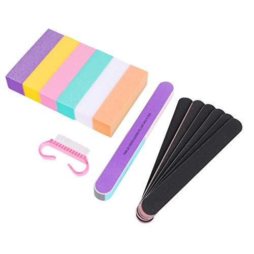 Solustre Kit D'outils de Manucure Professionnel Comprenant 6 Bloc de Polissage Des Ongles 1 Brosse 6 Bande de Fichier de Manucure 1 Fichier de Manucure Ourlet pour Salon Nail Art Bricolage