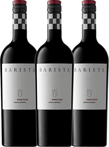 VINELLO 3er Weinpaket Rotwein - Pinotage Western Cape 2020 - Barista mit Weinausgießer | trockener Rotwein | südafrikanischer Wein vom Westkap | 3 x 0,75 Liter