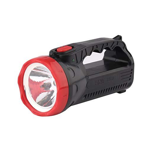 QiKun-Home Camping al Aire Libre LED Carga Brillante Portátil Luz Fuerte Linterna Antorcha Luz 5W Un Cabezal de lámpara 1000mAH Negro y Rojo