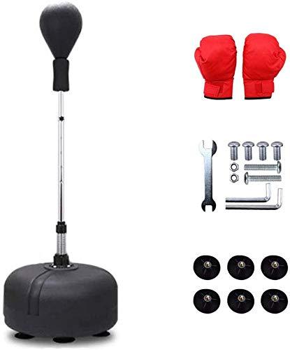 SOHOH Training Boxing Ball Set, Punch Ball Rack Sandsack Höhenverstellbar Stressfrei Stehend Punch Boxing Bag Set Spielzeug Mit Freien Handschuhen,Schwarz