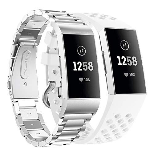 Supore Compatible con Fitbit Charge 3 Correa/Fitbit Charge 4 Correa, Correa de Ajustable Acero Inoxidable, Pulsera para Fitbit Charge3 / Charge 4 de Reemplazo Wristband Pulseras (Plata + Blanco)