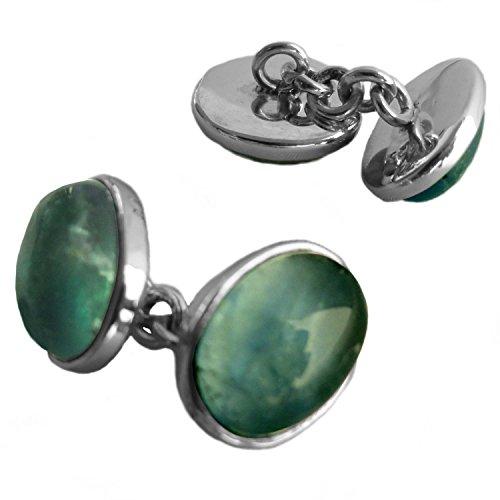 Bijoux et Objets - Boutons de manchette apatite en argent massif 925 - Dimensions des pierres 10x14mm