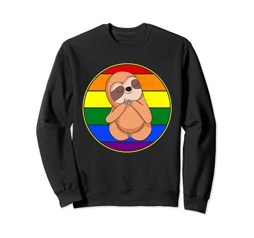 Cute Sloth Lover Gay Pride Stuff Teens Retro Rainbow LGBTQ + Sweatshirt
