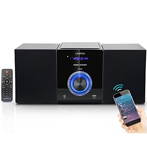 Micro Chaine HiFi stéréo compacte avec Lecteur CD, Bluetooth, Radio FM, USB, AUX-in, Grand écran LED et Bouton, télécommande