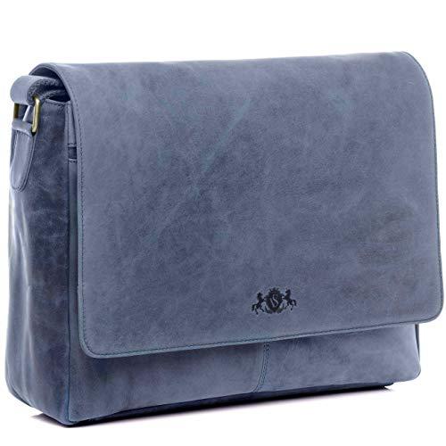 SID & VAIN Laptoptasche Messenger Bag echt Leder Spencer | Vintage-Look | XL groß Businesstasche 15