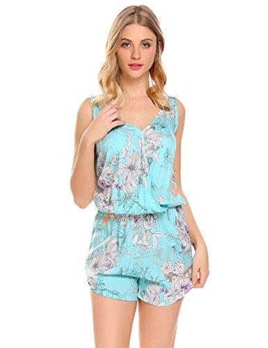 Schlafanzug Damen Kurz Einteiliges Pyjama Nachtwäsche Set Sommer Ärmellos Shorty mit V Ausschnitt