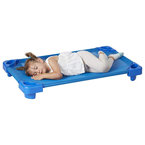 """ECR4Kids Children's Naptime Cot, Stackable Daycare Sleeping Cot for Toddlers, Heavy-Duty, 40"""" L x 23"""" W, Assembled, Blue (Set of 5)"""