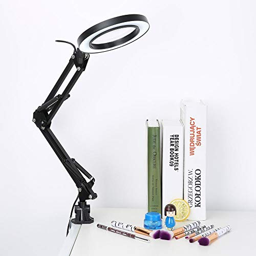 AYNEFY LED Lupenleuchte 5X Vergrößerung Lupenlampe Kosmetiklampe Arbeitsplatzlampe mit Klemme und Schwenkarm 10 Helligkeitsstufen Schreibtischlampe zum Hautpflege Lesen Büro Arbeiten Basteln Tattoo