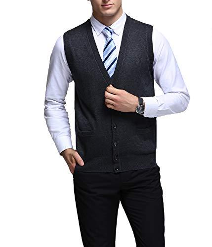 Flying.Mens Winter V-hals Mouwloos Vest Classic Business Gentleman Knitwear Gebreide Taillejas Trui Cardigans Tank Tops met Knopen