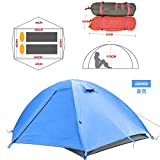 Field Equipment 1 2 People Outdoor Camping Tent Ultra Light Double Layer Hiking Tent PU Snowproof Waterproof 3000M,Blue Upgrade