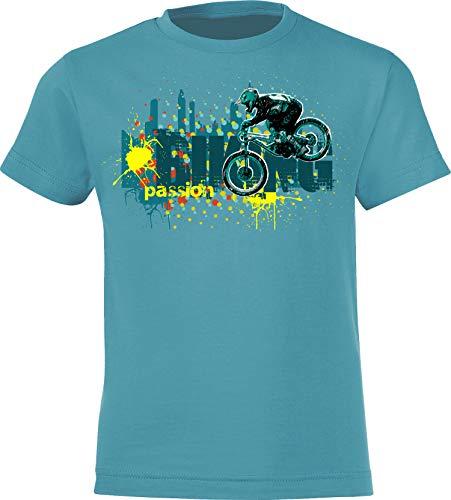 Kinder Fahrrad T-Shirt: Biking Passion - Geschenk-e Jungen & Mädchen - Radfahrer-in Mountain Bike MTB BMX Roller Rad Outdoor Junge Kind - Schule Sport Trikot Spielplatz Geburtstag (134-146)