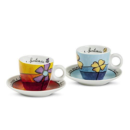 Egan PAF02/1S Set Tazze Caffe, Porcellana, Rosso/Celeste, 4 unità