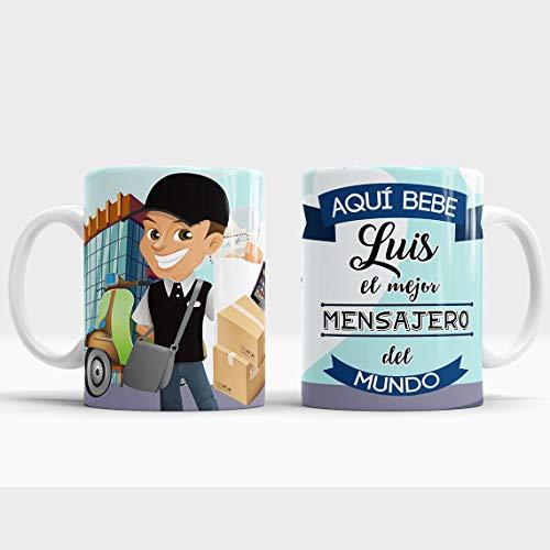 Taza Aquí Bebe el Mejor Mensajero del Mundo/Taza aqui Bebe un Super Mensajero/Taza Personalizada con Nombre/Taza Regalo Original para Mensajero (Mensajero)