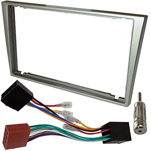AERZETIX - Kit de montaje de radio de coche estándar - 2DIN - Marco, cable enchufe y adaptadores de antena - Plata - C4579A