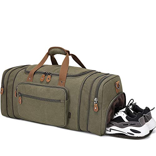 Plambag 50L / 60L Expandable Canvas Duffle Bag with Shoes Compartment, Large Holdall Bag for Men with Trolley Sleeve, Men Duffel Bag, Overnight Travel Bags, Weekend Bag (Green)