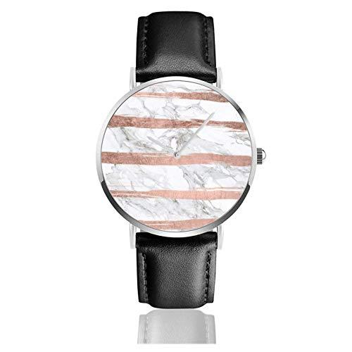 Elegante y elegante Cepillo de oro rosa Rayas Reloj de mármol blanco Movimiento de cuarzo Correa de reloj de cuero impermeable para hombres Mujeres Simple Business Cas
