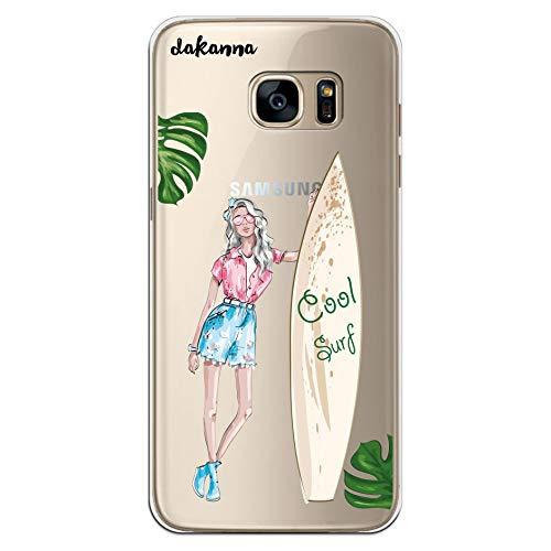 dakanna Funda para Samsung Galaxy S7 Edge   Chica y Tabla de Surf   Carcasa de Gel Silicona Flexible   Fondo Transparente