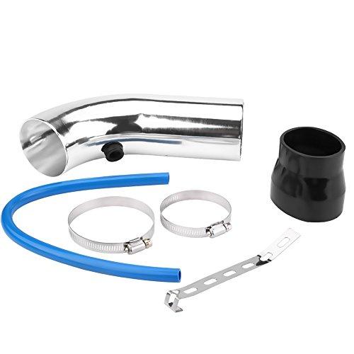 Juego de tubos de admisión de aire, 76mm / 3 pulgadas Kit universal de manguera de tubos de admisión de aire frío para automóviles, camiones(Plata)