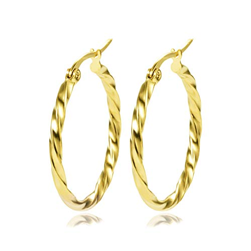 Yumay-9ct Gold Twisted Creole Hoop Earrings for Girls or Womens 28mm Hoop