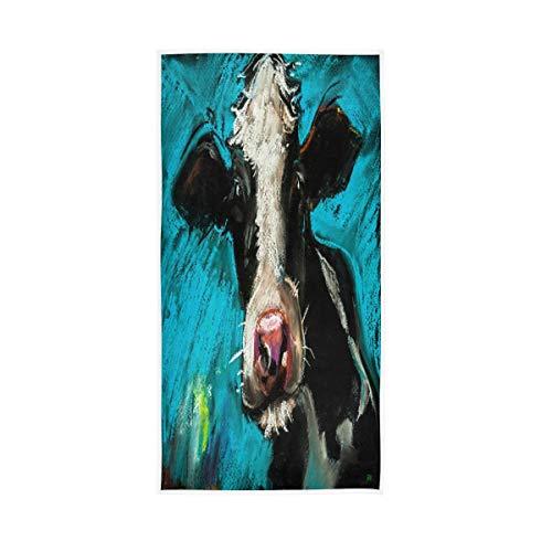 LUCKYEAH - Toallas de pintura de vaca para niñas, mujeres, niños, toallas de mano de algodón, suave, absorbente, toalla para el hogar, hotel, piscina, gimnasio, 76 x 38 cm