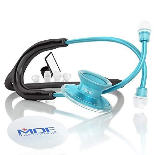 MDF® Acoustica® Deluxe Estetoscopio ligero de doble cabeza - Garantía de por vida & Programa-piezas-gratuitas-de-por-vida - Agua/Negro (MDF747XP-AQ11)