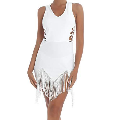 IEFIEL Femme Robe de Danse Latine Samba Tango Rumba Salon À Franges Tenue Robe de Bain Plage Soirée Vêtements De Danse Salle De Bal Classique Blanc S