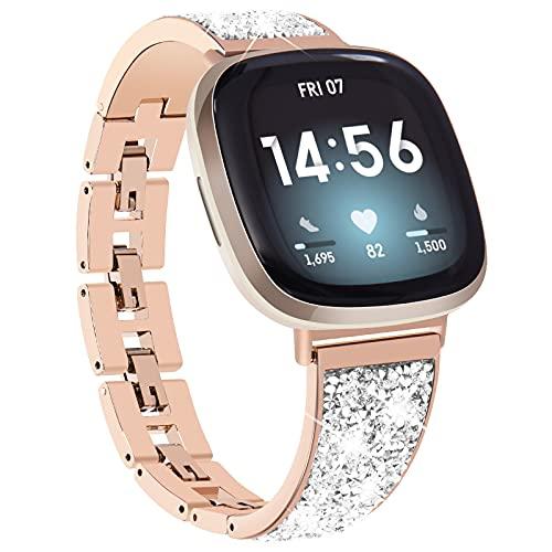 KADES kompatibel für Fitbit Versa 3 Armband, Damen Funkelndes Armband kompatibel für Fitbit Versa Sense Armband, Edelstahlarmband kompatibel für Fitbit Versa 3 Uhr (Roségold)
