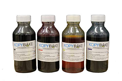 KOPYBAKE Edible Printer Inks, Compatible with Epson and Canon Edible Printers, Available in 4 Colors - Cyan, Magenta, Yellow and Black, 100 ML