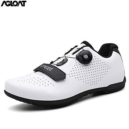 PIAOL Zapato De para Bicicleta De Carretera, Calzado De Ciclismo para Hombre Transpirable Antideslizantes Zapatillas De Ciclismo De Montaña para Hombre,White-44