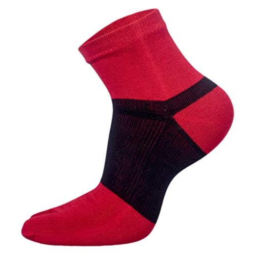 Toe de primavera y otoño Deportes algodón calcetines calcetines de los hombres de tubo de alta superior se divierte los calcetines del dedo del pie de Split Sudor Calcetines Mecha ( Color : Red )