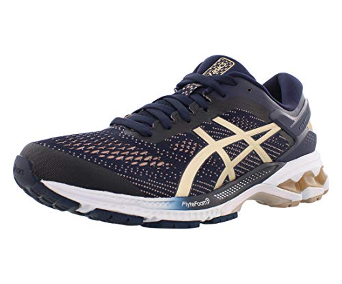 ASICS Women's Gel-Kayano 26 Running Shoes, 9M, Midnight/Frosted Almond