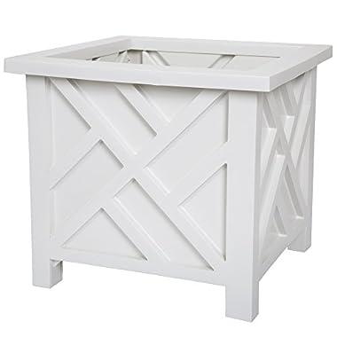 Pure Garden Plant Holder – Planter Container Box for Garden, Patio, and Lawn – Outdoor Decor White