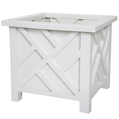 Plant Holder – Planter Container Box for Garden, Patio, and Lawn – Outdoor Decor by Pure Garden – White