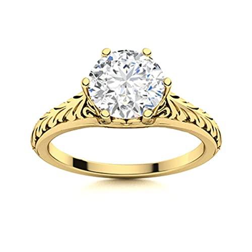 1.25 Ctw Anillo de diseñador celta de diamante Moissanite redondo de seis puntas 925 Plata de ley (Chapado en oro amarillo, 25)