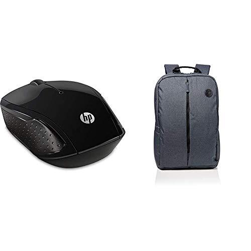 HP 200 RF inalámbrico Óptico 1000DPI Ambidextro Negro - Ratón (Ambidextro, Óptico, RF inalámbrico, 1000 dpi, Negro) + Value Backpack 15.6 - Mochila para portátiles de hasta 15.6', Gris y Azul