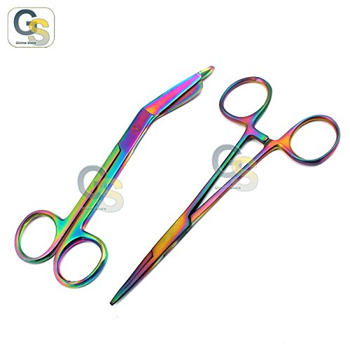 "G.S New Premium Lister Bandage Scissors 5.5"" + HEMOSTAT Forceps Straight Multi Color Rainbow Color Stainless Steel (Set of 2) Best Quality"