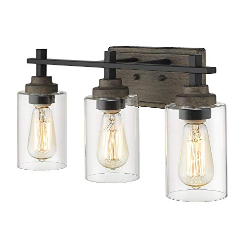 Osimir Farmhouse Bathroom Light Fixtures, 3-Light Vanity Lights Fixtures in Wood Paint and Matte Black Finish with Clear Cylinder Glass, 21 inch Bathroom Lights Over Mirror, WL9171-3