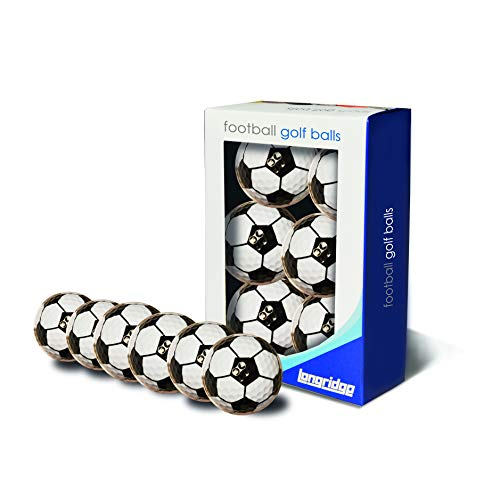 LONGRIDGE, Unisex-Golfbälle in Fußball-Optik, 6 Stück One Size schwarz