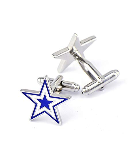 Bishilin Herren Business Manschettenknöpfe Edelstahl Blau Pentagram Hemd Manschettenknopf Silber mit Geschenk Box