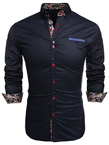 FRIENDSHIP PROMPT:Please check the measurement in figure 7 before taking the order.There is a slightly differnce in the size of NEW-Black,NEW-Black and NEW-Dark Blue shirts MENS CASUAL SHIRTS:Soft and comfortable material, 1 chest pocket.Print Patchw...