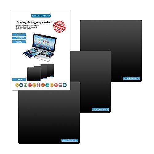 Blum - 3x Display-Reinigungstuch 15x15 cm Mikrofasertuch - für die perfekte Reinigung hochsensiblen Displays, Bildschirmen und Touchdisplays.