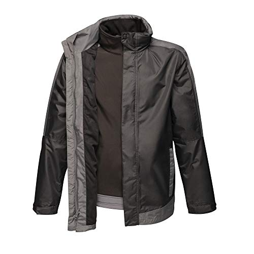 Regatta Men s Professional Contrast 3-in-1 Waterproof & Breathable Jacket with Concealed Hood & Detachable Softshell Inner, Black Seal Grey, X-Large