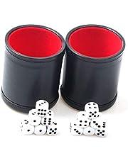 Juego de 2 tazas de dados de cuero con forro de fieltro silencioso con 6 dados de puntos para Farkle Yahtzee Games, color negro