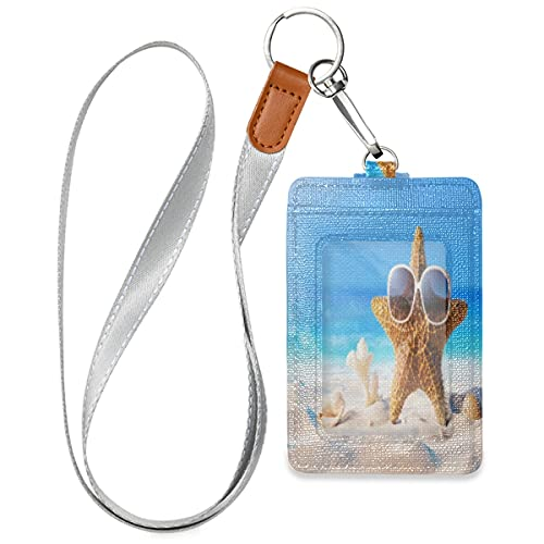 Starfish Seashell On The Beach Badge Holder ID Cover PU Leather 3 Cards Slots Neck Wallet Case Security Snap Button for Worker Student Kids