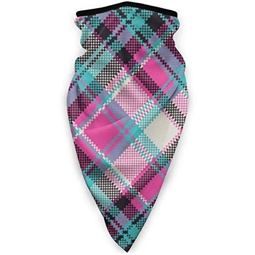 Zweischichtige weiche Anti-Staub-Sturmhaube, blau-rosa-lila Rautengitter-Halbschal-Bandana im schottischen Stil, lustiges nahtloses Stirnband für das Motorradfischen