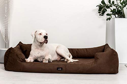 tierlando® Orthopädisches Hundebett Pluto Ortho VISCO Viscoschaum aus weichem Velours Größe: PLV5 130x100 cm | B Farbe: 01 Braun