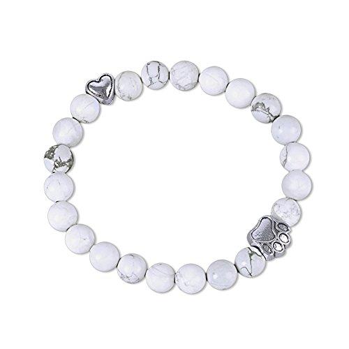 EASTDAMO Pet Sympathy Paw Print Bracelet for Women Dog Loss Memorial Gift Rainbow Bridge Card Lava Bead Bracelet