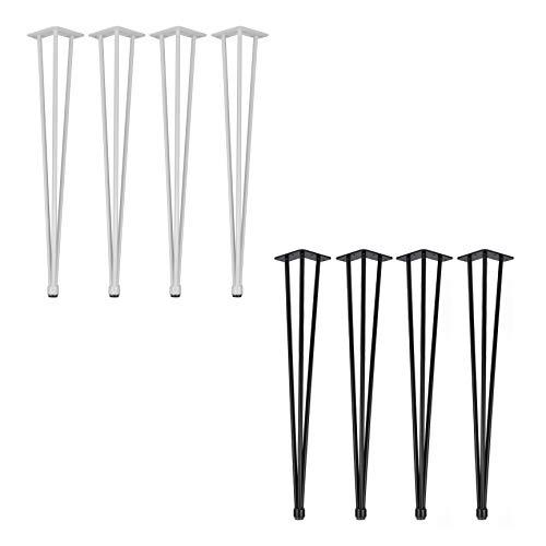 4x Natural Goods Berlin Hairpin Legs Adjustable | Tischbeine Höhenverstellbar | 12mm Stahl | Esstisch, Schreibtisch, Tischgestell, Tischkufen DIY (65cm - 3 Streben - Kommode, Schwarz)