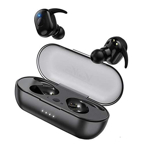 Vealvion Wireless Earbuds Bluetooth 5.0 Bluetooth Headphones IPX5 Built-in Mic in-Ear Earphones with Deep Bass Hi-Fi Sound with 500mAh Portable Charging Case for Sports Running (Black)